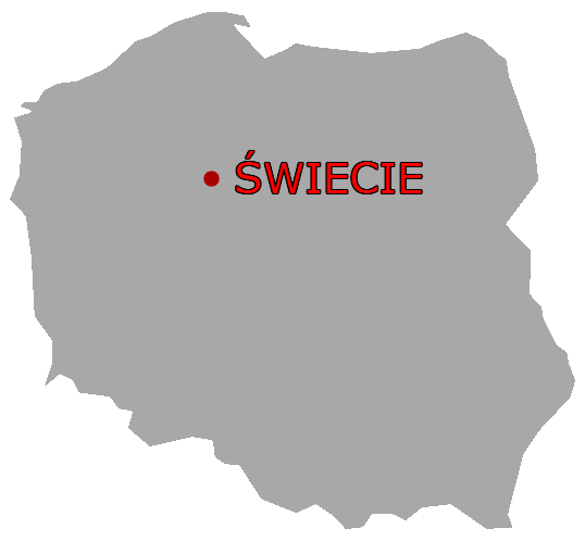 Świecie on a map of Poland